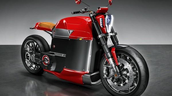 Tesla Model M Concept Electric Motorcycle футуристический мотоцикл обои HD