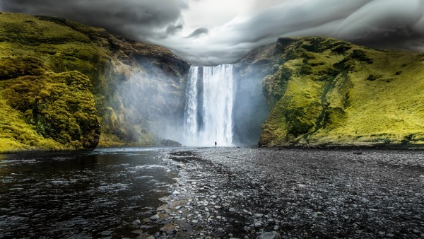 Скоугафосс Водопад в Исландии широкоформатные обои