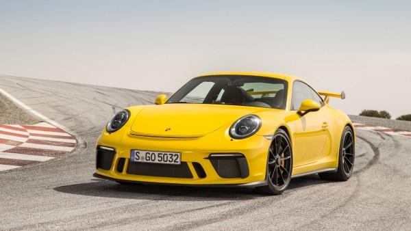 2018 Porsche 911 GT3 гоночный желтый автомобиль обои HD