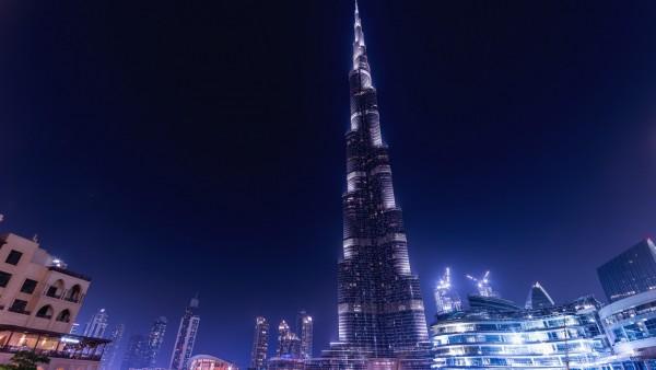 Ночьной Бурдж-Халифа Дубай обои HD