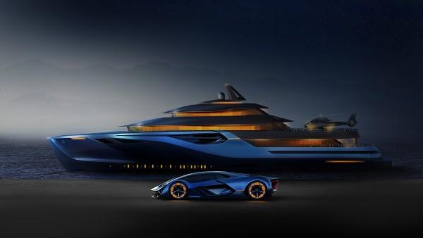 Lamborghini Terzo Millennio и красивая яхта обои 4K