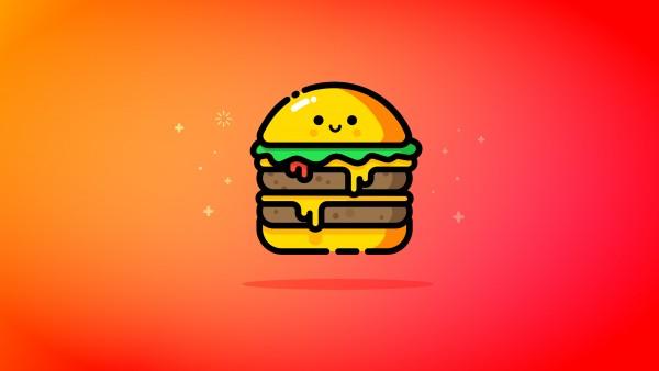 Двойной Чизбургер рисованные обои 5K