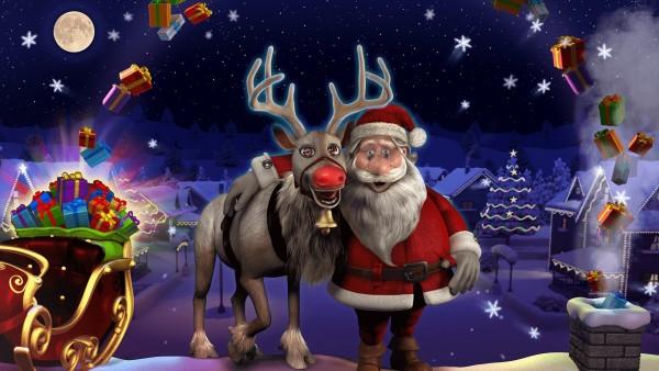 Санта Клаус, Merry Christmas, зима, огни, праздник, олень, арт, Новый год, сани
