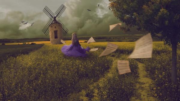 Мельница, сказочная девушка, поляна, платье, картинки