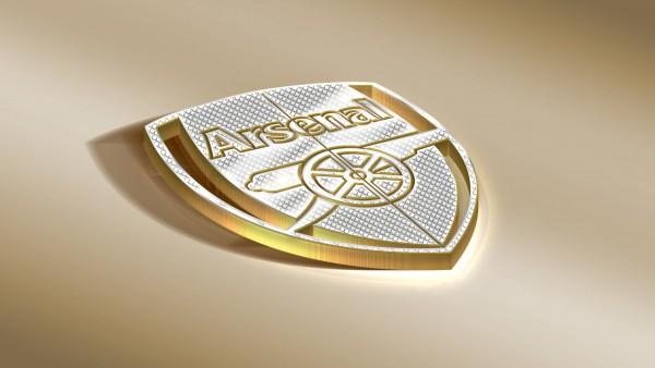 Золотой логотип ФК Арсенал 4K обои