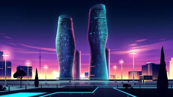 Неоновые небоскребы