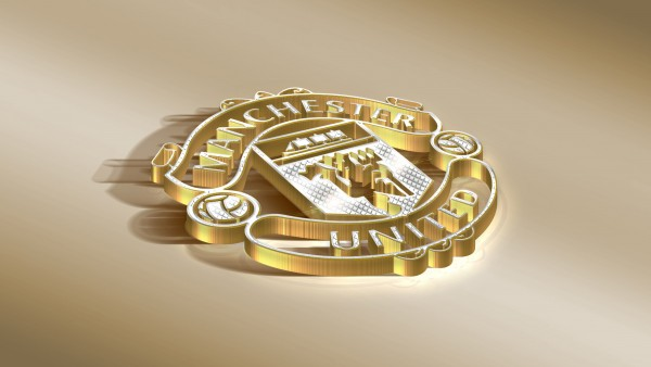 Золотой логотип ФК Манчестер Юнайтед 4K обои