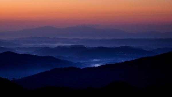 Закат, горы, пейзаж