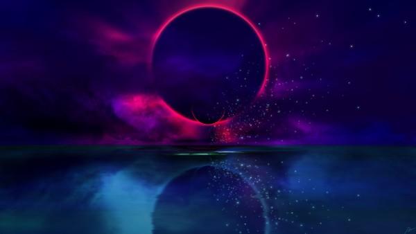 Облик планеты на фоне озера обои