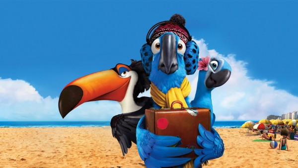 Смешные обои из мультфильма Рио 2 (2014) на голубом фоне