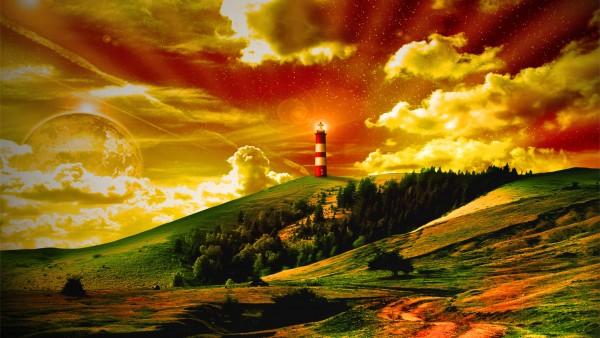 Фэнтези обои природы и маяка 3D фото