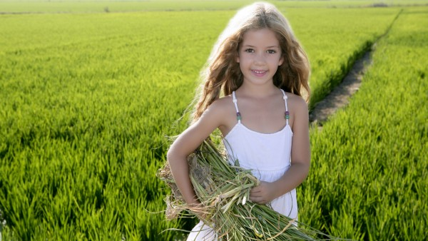 Маленькая девочка с сеном в поле