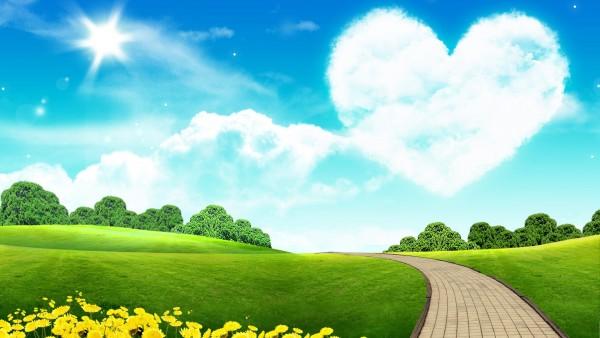 Небо в виде сердца фэнтези обои 3Д