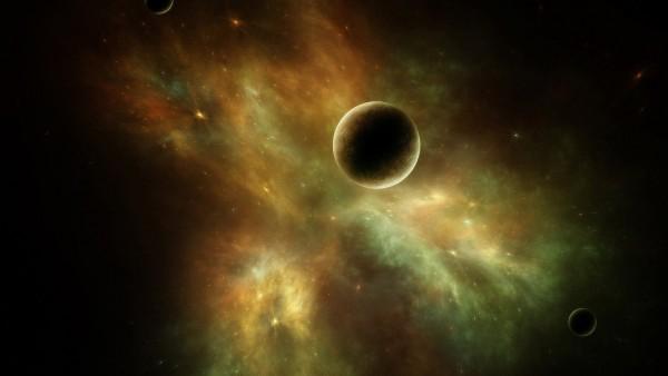 Обои планеты в космосе на фоне галактик