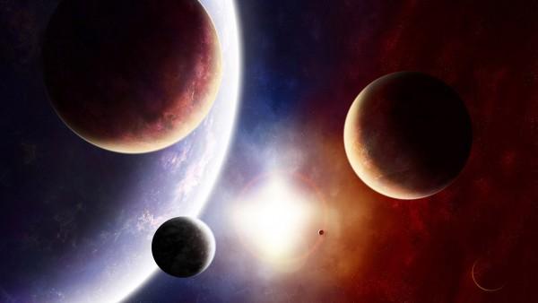 Космос, планеты, затмение, луна, земля, солнце