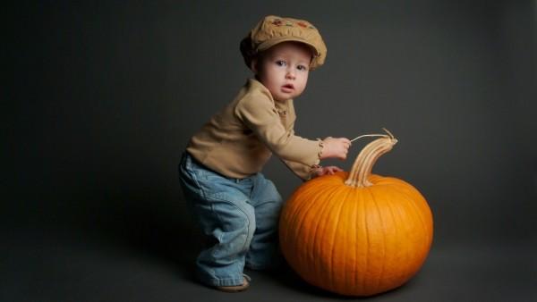 Обои малыша в кепке и большой тыквы скачать