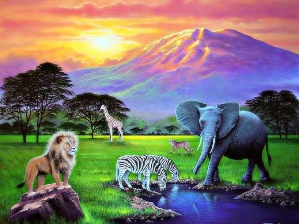 Обои нарисованные савана лев, жираф, слон, зебры, гепард