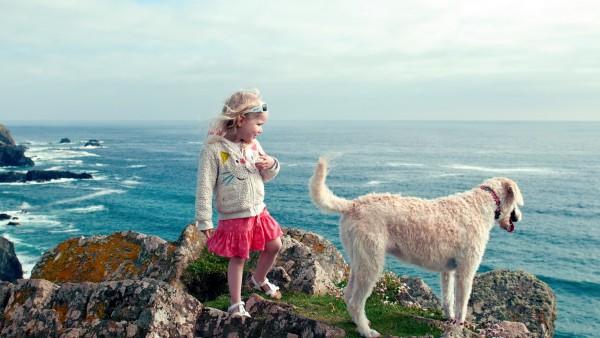 Маленькая девочка с собакай на обрыве у моря обои