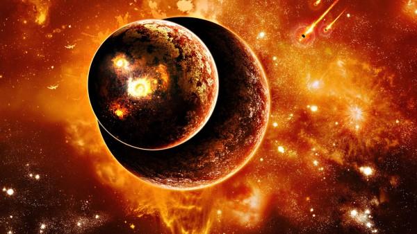 Две планеты на фоне солнечных вспышек обои космос