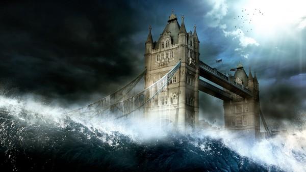 Волна накрывает город Лондон фэнтези обои