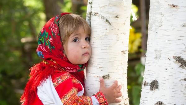 Девочка, ребёнок, лето, роща, берёза, наряд, платье, россия