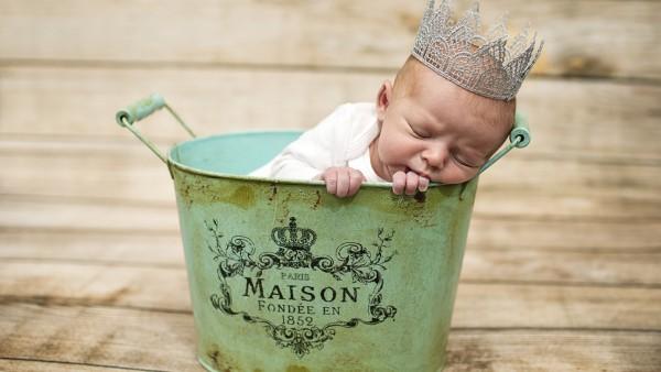 Младенец, корона, таз, сон, малыш, ребёнок, прЫнц
