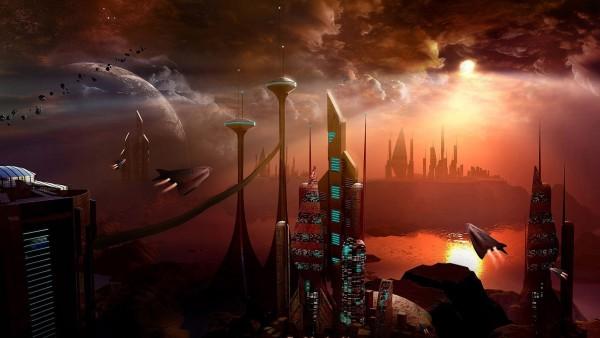 Фэнтези город в космосе широкоформатные обои
