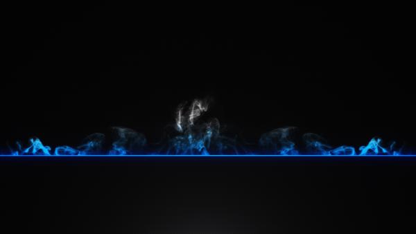 Синий развивающийся дымок на черном фоне