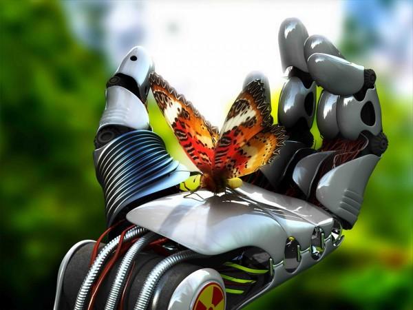 Бабочка в руке робота