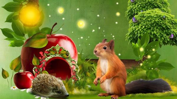 Ежик, белка, яблоко, праздник