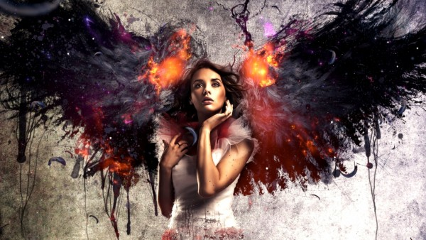 1920x1080,  Девушка с огненными крыльями
