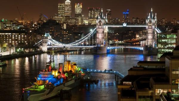 Ночной Лондон и его Тауэрский мост