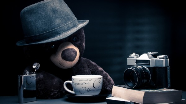 Забавный модный плюшевый медвежонок