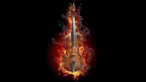 2560x1600, Виолончель и пламя огня на черном фоне