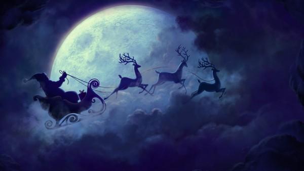 2560x1600, Новый год, дед мороз, санта клаус, олени, луна, сани
