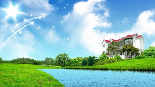 Фэнтези природа, небо, река, дом, зеленая трава, 1920x1200