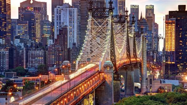 Мост в Нью-Йорк сити широкоформатные обои hd