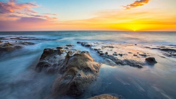 Чудесный горизонт море, камни, расвет заставки hd