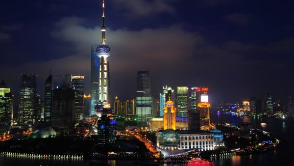 Ночной город Шанхай в Китае
