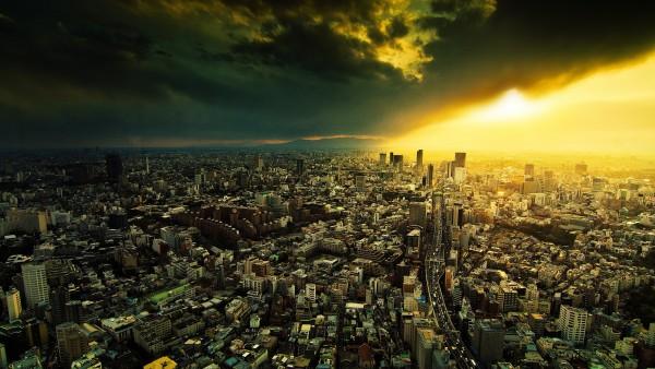 Большой город под тучей картинки