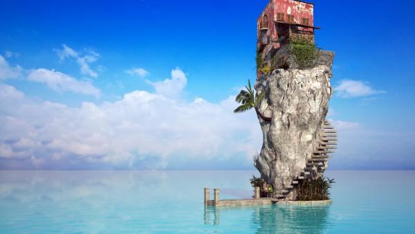 Дом остров в открытом море