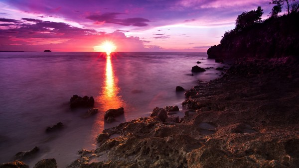 Закат, пляж, природа, заставки