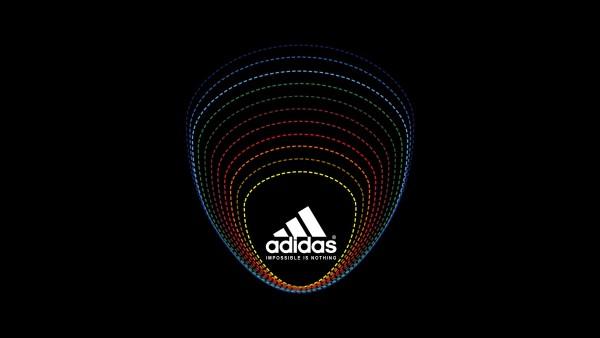 Широкоформатные обои бренда адидас на черном фоне