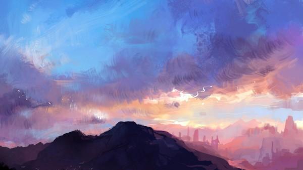 Горный пейзаж, небо, закат, природа, картинки