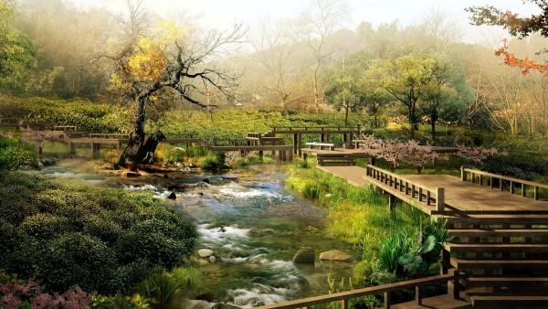 Японский ландшафт природа красивая на рабочий стол картинки