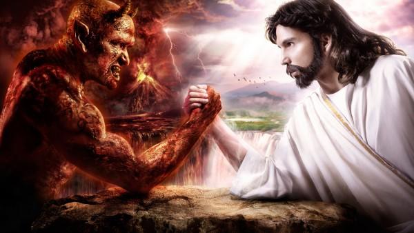 Дьявол против Бога, добро против зла, фэнтези картинки, hd
