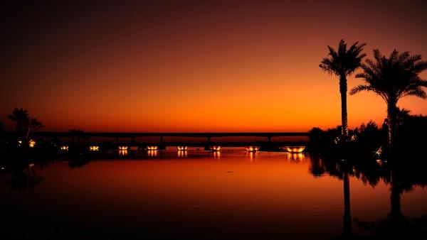 Дубай, ночь, пальмы, заставки