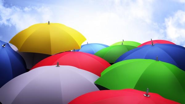 Разноцветные зонтики от дождя обои hd