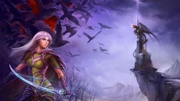 Эльф девушка, дракон, замок, птицы, фэнтези, картинки
