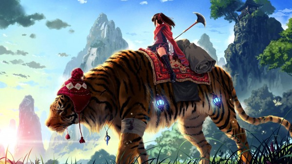 Girl on huge tiger hd wallpapers high resolution background
